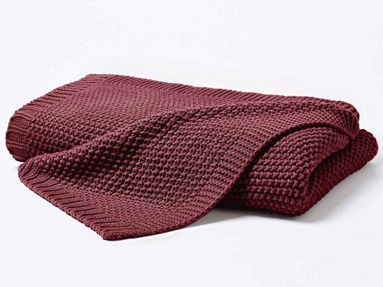 H.G. Hahn Strickdecke Strick Plaid marsala 130x170