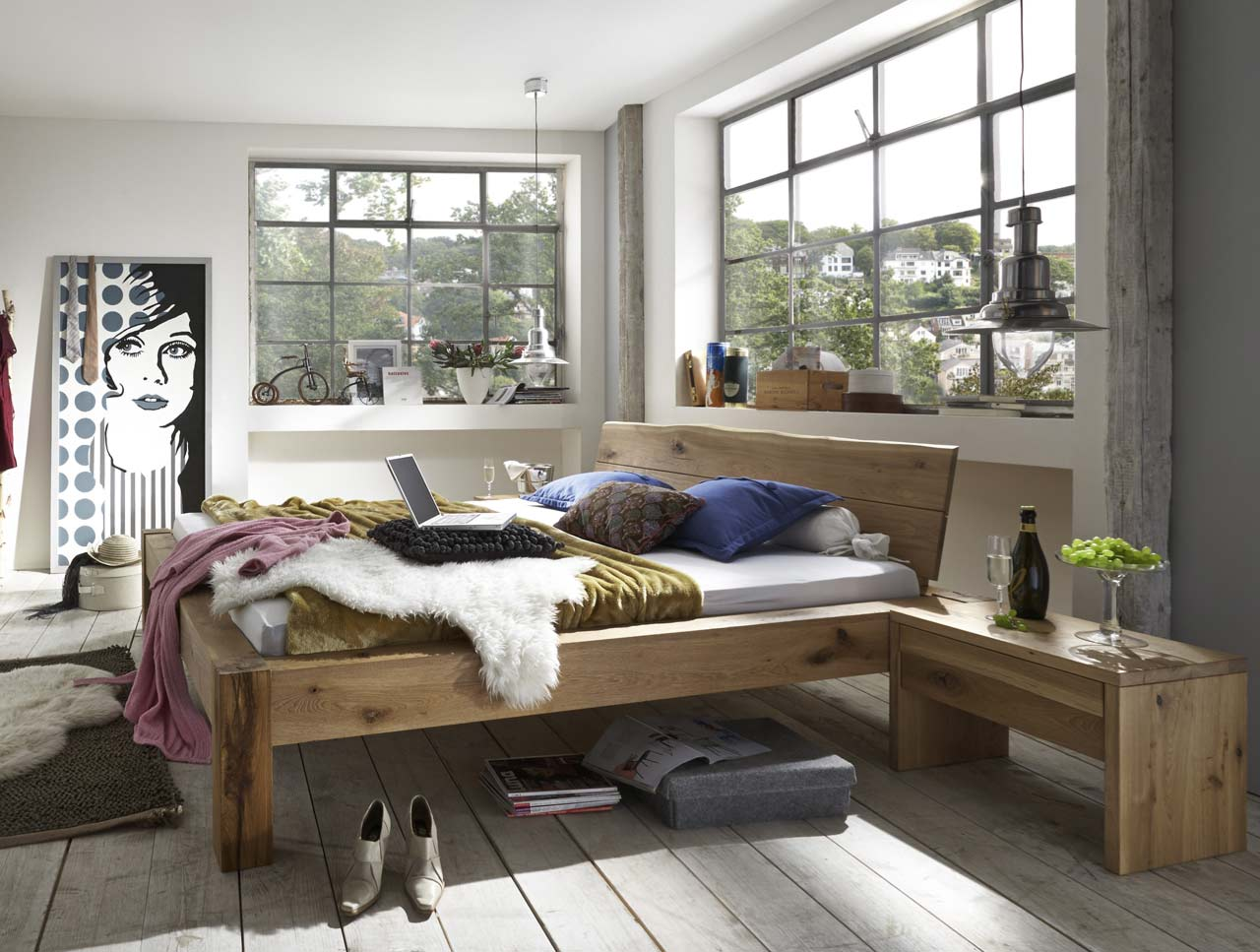 m h massivholz bett baumkante. Black Bedroom Furniture Sets. Home Design Ideas