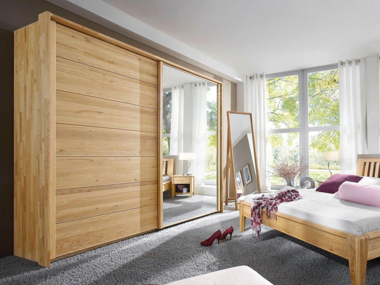 M&H Massivholz Schwebetürenschrank Jupiter 300 cm Buche massiv geölt mit Holz/Spiegel