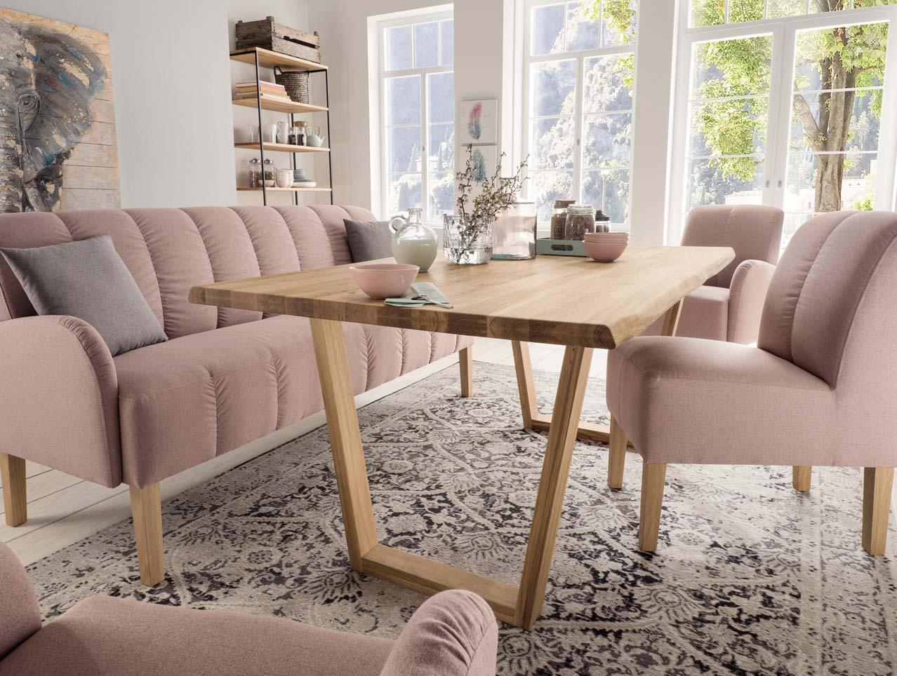 wildeiche esstisch mit nat rlicher baumkante 220x100 cm. Black Bedroom Furniture Sets. Home Design Ideas