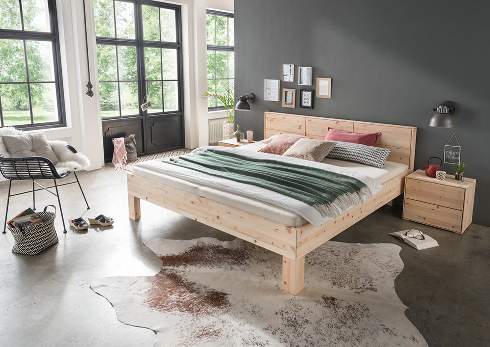 M h massivholz bett mercur iii zirbe natur for Betten lagerverkauf