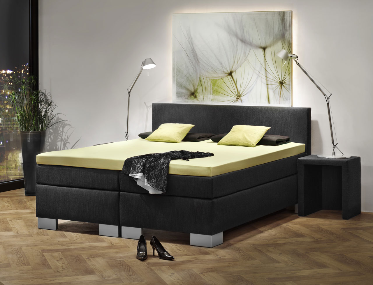 boxspringbett london 140x200. Black Bedroom Furniture Sets. Home Design Ideas