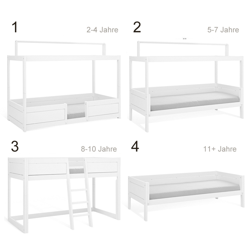 lifetime 4 in 1 bett weiss mit dach. Black Bedroom Furniture Sets. Home Design Ideas