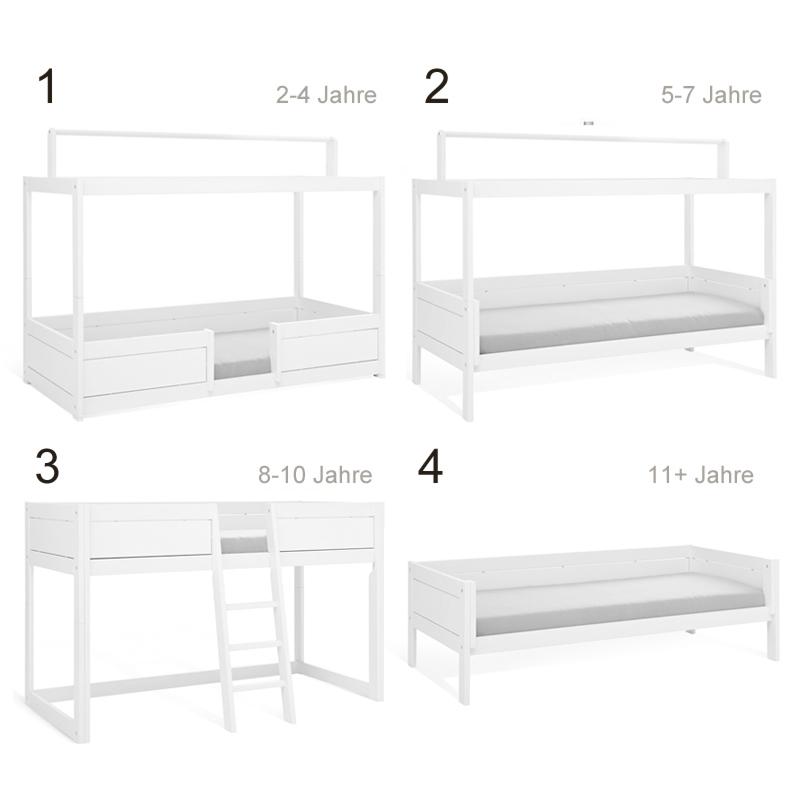 lifetime 4 in 1 bett weiss mit dach. Black Bedroom Furniture Sets. Home Design Ideas