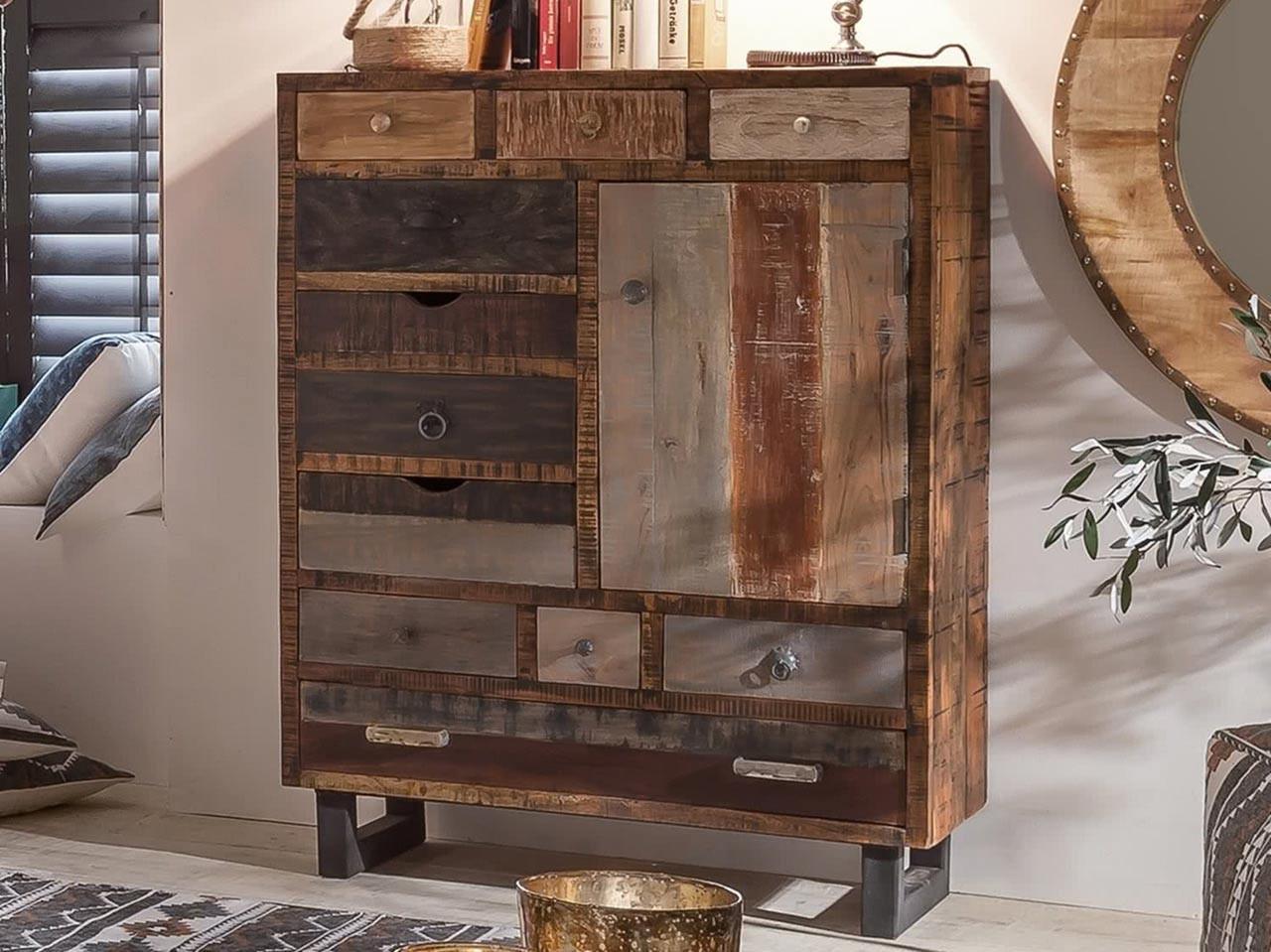 Mangoholz Kommode PRIYA mit 11 Schubladen und 1 Holztür